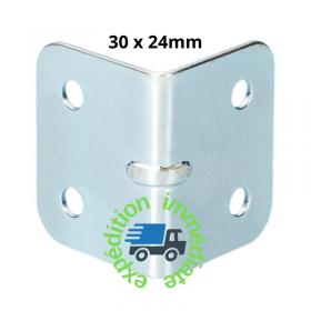 Renfort d'angle en forme de L en acier galvanisé de dimensions 30 par 24mm