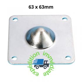 Pied carré en acier galvanisé empilable de dimensions 63 par 63mm, hauteur 15mm