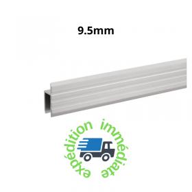 Profilé aluminium brut en H pour portes de service en barre de 2m pour panneaux de 9,5mm