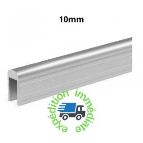 Profilé en aluminium brut pour recouvrement de parois séparatrices en 10mm