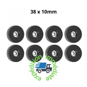 8 pieds ronds en caoutchouc noir de diamètre 38mm et hauteur 10mm avec une rondelle en acier intégrée dans le trou de fixation