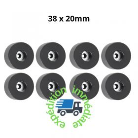 8 pieds ronds en caoutchouc noir de diamètre 38mm et hauteur 20mm avec une rondelle en acier intégrée dans le trou de fixation
