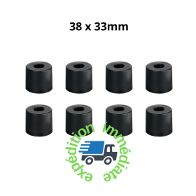 8 pieds ronds en caoutchouc noir de diamètre 38mm et hauteur 33mm avec une rondelle en acier intégrée dans le trou de fixation