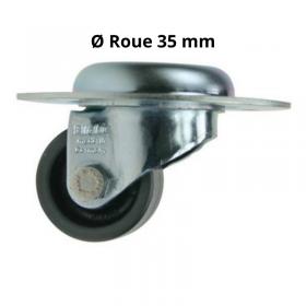 Roulette pivotante encastrable en  acier sans frein, de diamètre 35mm