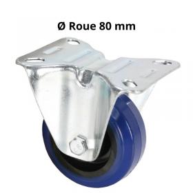 Roulette Fixe Bandage bleu 80 mm