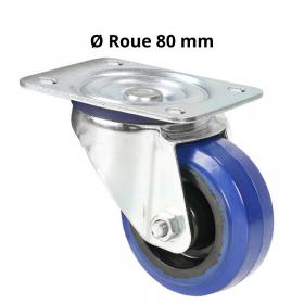 Roulette Pivotante Bandage bleu 80 mm