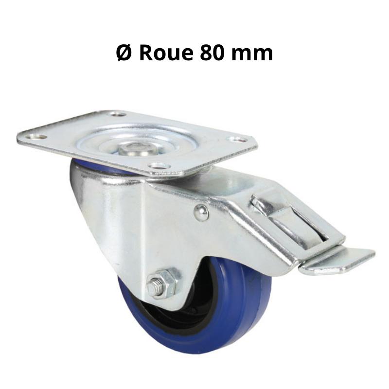 Roulette Pivotante avec Frein Bandage bleu 80 mm