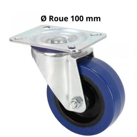 Roulette Pivotante Bandage bleu 100 mm