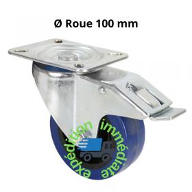 Roulette pivotante bleue avec frein de diamètre 100mm et structure en acier