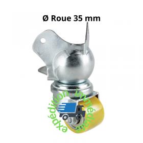 Roulette en acier pivotante et encastrable, sans frein, combinée avec un coin boule