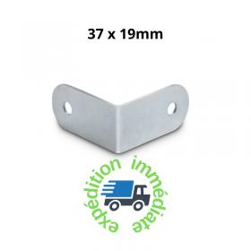 Renfort d'angle en acier galvanisé sans passage de profilé de dimensions 37 par 19mm
